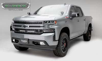 "T-REX GRILLES - 2019-2021 Silverado 1500 Laser Torch Grille, Black, 1 Pc, Replacement, Chrome Studs, Incl. (2) 10"" LEDs - PN #7311261 - Image 7"