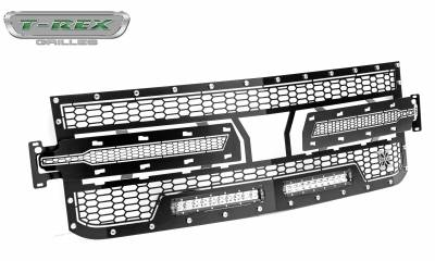 "T-REX GRILLES - 2019-2021 Silverado 1500 Laser Torch Grille, Black, 1 Pc, Replacement, Chrome Studs, Incl. (2) 10"" LEDs - PN #7311261 - Image 8"