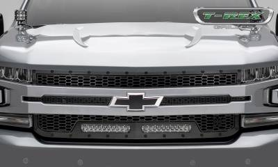 "2019 Silverado 1500 Stealth Laser Torch Grille, Black, 1 Pc, Replacement, Black Studs, Incl. (2) 10"" LEDs - PN #7311261-BR - Image 2"