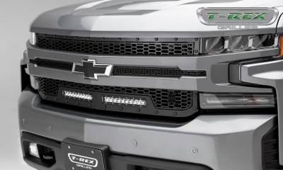 "T-REX GRILLES - 2019-2020 Silverado 1500 Stealth Laser Torch Grille, Black, 1 Pc, Replacement, Black Studs, Incl. (2) 10"" LEDs - PN #7311261-BR - Image 1"