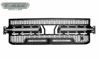 "T-REX GRILLES - 2019-2020 Silverado 1500 Stealth Laser Torch Grille, Black, 1 Pc, Replacement, Black Studs, Incl. (2) 10"" LEDs - PN #7311261-BR - Image 4"