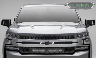 "T-REX GRILLES - 2019-2020 Silverado 1500 Stealth Laser Torch Grille, Black, 1 Pc, Replacement, Black Studs, Incl. (2) 10"" LEDs - PN #7311261-BR - Image 7"