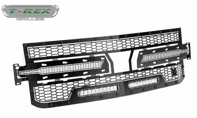 "2019 Silverado 1500 Stealth Laser Torch Grille, Black, 1 Pc, Replacement, Black Studs, Incl. (2) 10"" LEDs - PN #7311261-BR - Image 8"