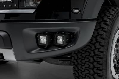 2010-2014 Ford F-150 Raptor Front Bumper OEM Fog LED Bracket to mount (2) 3 Inch LED Pod Lights - PN #Z325671 - Image 1