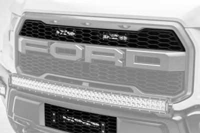 ZROADZ                                             - 2017-2021 Ford F-150 Raptor OEM Grille LED Kit with (2) 6 Inch LED Straight Single Row Slim Light Bars - PN #Z415651-KIT - Image 1
