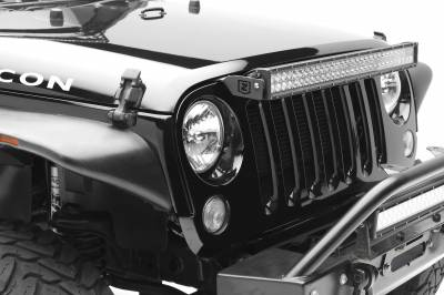 2007-2018 Jeep JK Above Grille LED Bracket to mount 30 Inch Dual Row LED Light Bar - PN #Z344821 - Image 4
