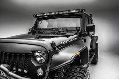 2007-2018 Jeep JK Hood Hinge LED Kit, Incl. (1) 20 Inch and (2) 6 Inch LED Single Row Slim Light Bars - PN #Z344813-KIT - Image 5