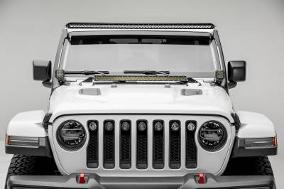 2018-2019 Jeep JL Front Roof LED Kit, Incl. (1) 50 Inch LED Straight Single Row Slim Light Bar and (2) 3 Inch LED Pod Lights - PN #Z374631-KIT2 - Image 2