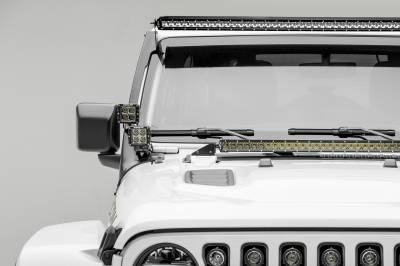 2018-2019 Jeep JL Front Roof LED Kit, Incl. (1) 50 Inch LED Straight Single Row Slim Light Bar and (4) 3 Inch LED Pod Lights - PN #Z374631-KIT4 - Image 1