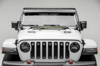 2018-2019 Jeep JL Front Roof LED Kit, Incl. (1) 50 Inch LED Straight Single Row Slim Light Bar and (4) 3 Inch LED Pod Lights - PN #Z374631-KIT4 - Image 2