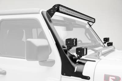 2018-2019 Jeep JL Front Roof LED Bracket to mount (1) 50 or 52 Inch Staight LED Light Bar and (4) 3 Inch LED Pod Lights - PN #Z374831-BK4 - Image 1