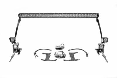 2018-2019 Jeep JL Front Roof LED Bracket to mount (1) 50 or 52 Inch Staight LED Light Bar and (4) 3 Inch LED Pod Lights - PN #Z374831-BK4 - Image 4