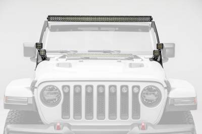 2018-2019 Jeep JL Front Roof LED Bracket to mount (1) 50 or 52 Inch Staight LED Light Bar and (4) 3 Inch LED Pod Lights - PN #Z374831-BK4 - Image 5