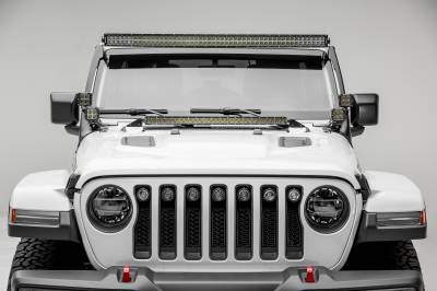2018-2019 Jeep JL Front Roof LED Bracket to mount (1) 50 or 52 Inch Staight LED Light Bar and (4) 3 Inch LED Pod Lights - PN #Z374831-BK4 - Image 6