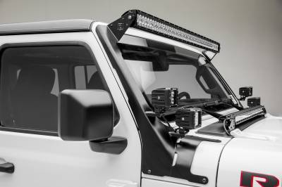 2018-2019 Jeep JL Front Roof LED Bracket to mount (1) 50 or 52 Inch Staight LED Light Bar and (4) 3 Inch LED Pod Lights - PN #Z374831-BK4 - Image 11