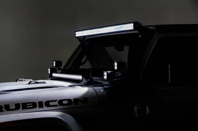 2018-2019 Jeep JL Front Roof LED Bracket to mount (1) 50 or 52 Inch Staight LED Light Bar and (4) 3 Inch LED Pod Lights - PN #Z374831-BK4 - Image 12