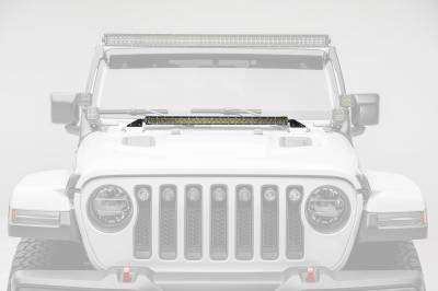 2018-2019 Jeep JL Hood Cowl LED Kit, Incl. (1) 30 Inch LED Straight Single Row Slim Light Bar - PN #Z364931-KIT - Image 1