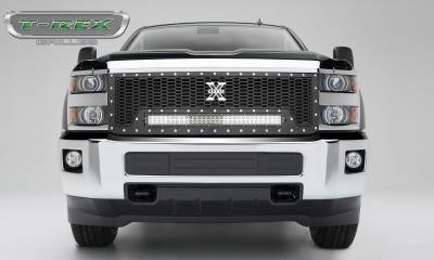 "T-REX GRILLES - 2015-2019 Silverado HD Laser Torch Grille, Black, 1 Pc, Replacement, Chrome Studs with (1) 30"" LED - PN #7311241 - Image 3"