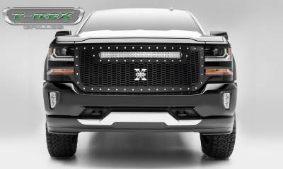"""T-REX GRILLES - 2016-2018 Silverado 1500 Laser Torch Grille, Black, 1 Pc, Replacement, Chrome Studs with (1) 30"""" LED - PN #7311281 - Image 1"""