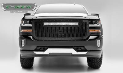 """T-REX GRILLES - 2016-2018 Silverado 1500 Stealth Laser Torch Grille, Black, 1 Pc, Replacement, Black Studs with (1) 30"""" LED - PN #7311281-BR - Image 1"""