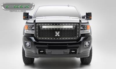 "T-REX GRILLES - 2015-2019 Sierra HD Laser Torch Grille, Black, 1 Pc, Insert, Chrome Studs with (1) 30"" LED - PN #7312111 - Image 1"