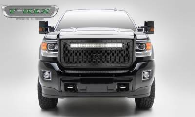 "T-REX GRILLES - 2015-2019 Sierra HD Stealth Laser Torch Grille, Black, 1 Pc, Insert, Black Studs, Incl. (1) 30"" LED - PN #7312111-BR - Image 1"