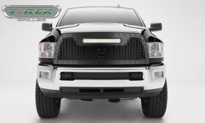 "T-REX GRILLES - 2013-2018 Ram 2500, 3500 Stealth Laser Torch Grille, Black, 1 Pc, Replacement, Black Studs, Incl. (1) 20"" LED - PN #7314521-BR - Image 1"