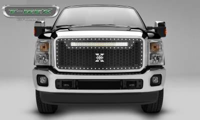 "T-REX GRILLES - 2011-2016 Super Duty Laser Torch Grille, Black, 1 Pc, Insert, Chrome Studs with (1) 30"" LED - PN #7315461 - Image 1"