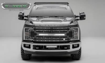 """T-REX GRILLES - 2017-2019 Super Duty Laser Torch Grille, Black, 1 Pc, Replacement, Chrome Studs with (1) 30"""" LED, Does Not Fit Vehicles with Camera - PN #7315471 - Image 1"""