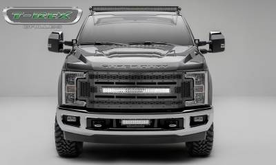 """T-REX GRILLES - 2017-2019 Super Duty Stealth Laser Torch Grille, Black, 1 Pc, Replacement, Black Studs with (1) 30"""" LED, Does Not Fit Vehicles with Camera - PN #7315471-BR - Image 1"""
