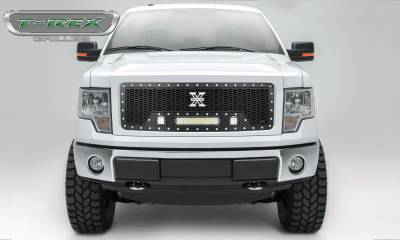 """T-REX GRILLES - 2009-2012 F-150 Laser Torch Grille, Black, 1 Pc, Insert, Chrome Studs with (2) 3"""" LED Cubes and (1) 12"""" LEDs - PN #7315681 - Image 1"""