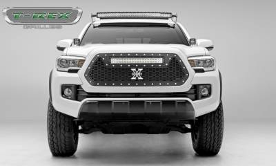 """T-REX GRILLES - 2016-2017 Tacoma Laser Torch Grille, Black, 1 Pc, Insert, Chrome Studs with (1) 20"""" LED - PN #7319411 - Image 1"""
