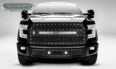 "T-REX GRILLES - 2015-2017 F-150 Laser Torch Bumper Grille, Black, 1 Pc, Insert, Chrome Studs, Incl. (2) 3"" LED Cube Lights - PN #7325731 - Image 1"