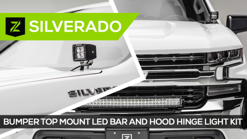 Chevrolet Silverado 1500 Hood Hinge and Front Bumper LED Light Mounts