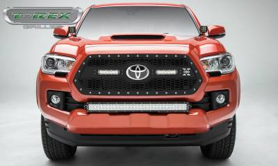 """T-REX GRILLES - 2018-2020 Tacoma Laser Torch Grille, Black, 1 Pc, Insert, Chrome Studs with (2) 6"""" LEDs - PN #7319511 - Image 2"""