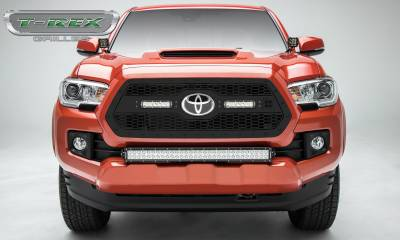 "T-REX GRILLES - 2018-2021 Tacoma Stealth Laser Torch Grille, Black, 1 Pc, Insert, Black Studs with (2) 6"" LEDs, Does Not Fit Vehicles with Camera - PN #7319511-BR - Image 1"