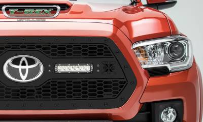 "T-REX GRILLES - 2018-2021 Tacoma Stealth Laser Torch Grille, Black, 1 Pc, Insert, Black Studs with (2) 6"" LEDs, Does Not Fit Vehicles with Camera - PN #7319511-BR - Image 2"