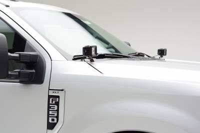 ZROADZ                                             - 2017-2019 Ford Super Duty Hood Hinge LED Kit with (2) 3 Inch Amber LED Pod Lights - PN #Z365471-KIT2A - Image 1