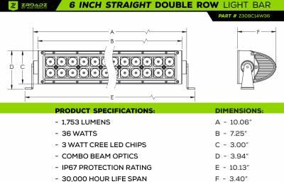 ZROADZ                                             - 6 Inch LED Straight Double Row Light Bar - PN #Z30BC14W36 - Image 2
