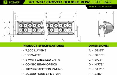 ZROADZ                                             - 30 Inch LED Curved Double Row Light Bar - PN #Z30CBC14W180 - Image 3