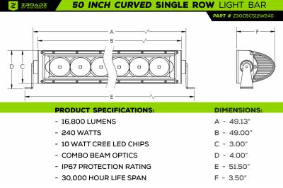 ZROADZ                                             - 50 Inch LED Curved Single Row Light Bar - PN #Z30CBCS12W240 - Image 4
