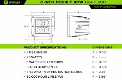 ZROADZ                                             - 3 Inch LED Flood Beam Pod Lights - PN #Z30BC14W20 - Image 3