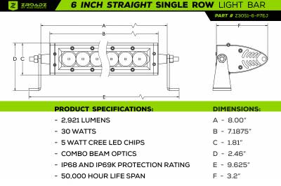 ZROADZ                                             - 6 Inch LED Straight Single Row Slim Light Bar - PN #Z30S1-6-P7EJ - Image 3