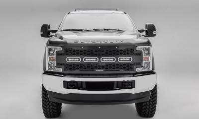 "T-REX GRILLES - 2017-2019 Super Duty Revolver Grille, Black, 1 Pc, Replacement, Chrome Studs with (4) 6"" LEDs, Fits Vehicles with Camera - PN #6515631 - Image 1"