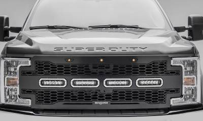 "T-REX GRILLES - 2017-2019 Super Duty Revolver Grille, Black, 1 Pc, Replacement, Chrome Studs with (4) 6"" LEDs, Fits Vehicles with Camera - PN #6515631 - Image 2"