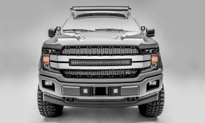 "T-REX GRILLES - 2018-2020 F-150 Torch AL Grille, Brushed Mesh and Trim, 1 Pc, Replacement, Chrome Studs, Incl. (1) 30"" LED - PN #6315785 - Image 1"