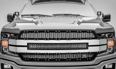 "T-REX GRILLES - 2018-2020 F-150 Torch AL Grille, Brushed Mesh and Trim, 1 Pc, Replacement, Chrome Studs, Incl. (1) 30"" LED - PN #6315785 - Image 2"
