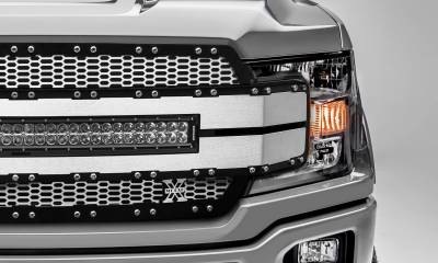 "T-REX GRILLES - 2018-2020 F-150 Torch AL Grille, Brushed Mesh and Trim, 1 Pc, Replacement, Chrome Studs, Incl. (1) 30"" LED - PN #6315785 - Image 3"