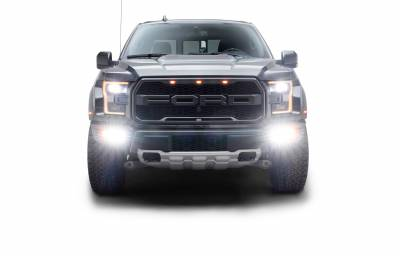 ZROADZ                                             - 2017-2021 Ford F-150 Raptor Front Bumper OEM Fog Amber LED Kit with (2) 3 Inch Amber LED Pod Lights and (4) 3 Inch LED Pod Lights- PN #Z325672-KIT - Image 3