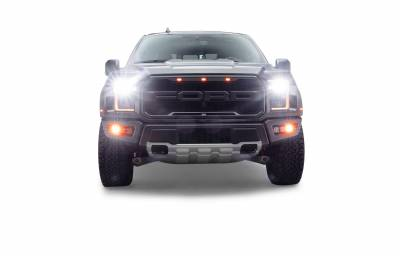 ZROADZ                                             - 2017-2021 Ford F-150 Raptor Front Bumper OEM Fog Amber LED Kit with (2) 3 Inch Amber LED Pod Lights and (4) 3 Inch LED Pod Lights- PN #Z325672-KIT - Image 5